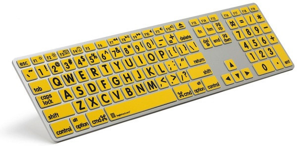 ZoomText Apple Large Print Keyboard for MAC (Yellow Keys with Black Letters) - NY Low Vision