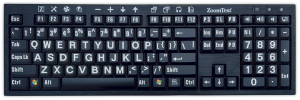 ZoomText Large Print Keyboards for PC (Black with White Keys) - NY Low Vision